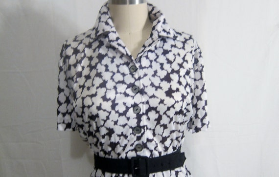 Vintage 1960's Black and White Shirtwaist Dress XL-XXL