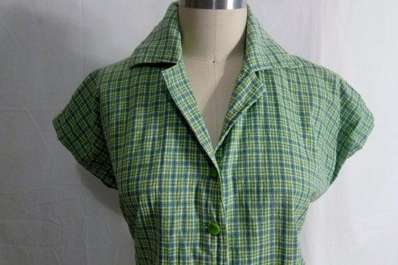 Vintage 1950's Rockabilly Cotton Plaid Blouse XL-XXL
