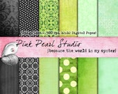 Zingy Lime Digital Paper Pack 12x12 Green, Black...Scrapbooking, Crafts and Cardmaking