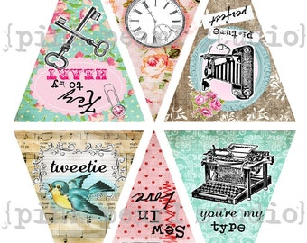 Vintage SMALL Valentines Day Sentiments Banner / Easy DIY Digital File