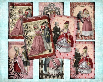 Set of 6 AGeD GRuNGe mArie inSpired ValENtiNe BaCKGRouND ViNTaGe aNTiQUe DiGiTaL CoLLaGe sHeeT aLTeReD HaNg TaGs BooK JouRNaL SCRaPBooKiNg