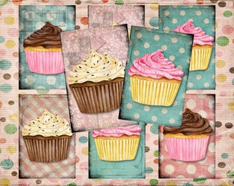 Set of 6 AGeD GRuNGe sHaBBY CupCAKe baKEry BaCKGRouND PaPeRs ViNTaGevDiGiTaL CoLLaGe sHeeT aLTeReD TaGs