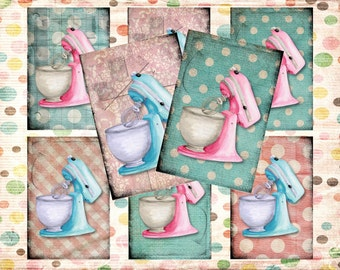 Set of 6 AGeD GRuNGe sHaBBY mIXers CupCAKe baKEry BaCKGRouND PaPeRs ViNTaGe aNTiQUe DiGiTaL CoLLaGe sHeeT aLTeReD HaNg TaGs