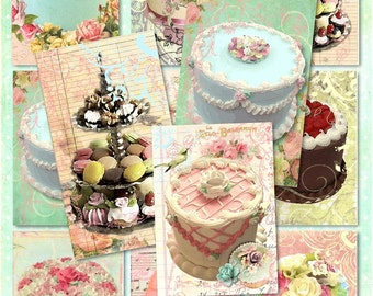 Set of 9 ShaBby Marie Let Them Eat CaKe BaCKGRouND ATC PaPeRs ViNTaGe bAkeRY DiGiTaL CoLLaGe sHeeT aLTeReD HaNg TaGs