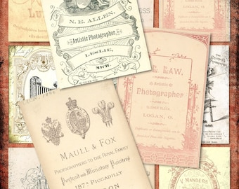 Set of 9 Antique PhoTography Photo CarDs TagS BaCKGRouND ATC PaPeRs ViNTaGe DiGiTaL CoLLaGe sHeeT aLTeReD HaNg TaGs BooK