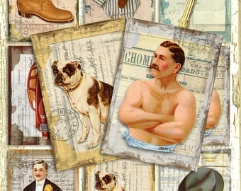 Vintage Art of Manliness Fathers Day ATC Man BackGRouND PaPeRs DiGiTaL CoLLaGe sHeeT aLTeReD BooK JouRNaL mUsical SCRaPBooKiNg SuPPLieS
