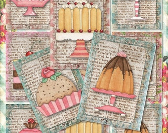 Set of 9 Sweet ATC DeSSert, CaKe, baKEry BaCKGRouND PaPeRs ViNTaGe DiGiTaL CoLLaGe sHeeT aLTeReD HaNg TaGs BooK SCRaPBooKiNg SuPPLieS