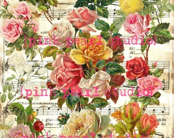 Victorian Roses, Flowers Digital Collage Clipart Sheet
