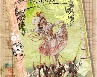 "Vintage Burlesque French Altered Digital Print  in a 5x7"" Format"