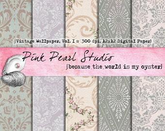 Vintage Wallpaper Vol. 1 Digital Printable Paper Pack...Scrapbooking, Crafts and Cardmaking