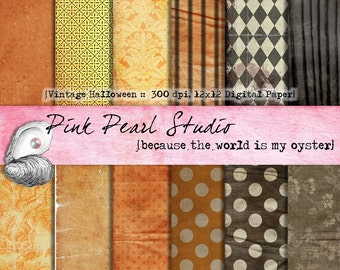 Vintage Halloween Digital Paper Pack 12x12...Scrapbooking, Crafts and Cardmaking