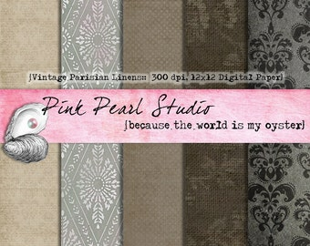 Vintage Parisian Linen Digital Printable Paper Pack...Scrapbooking, Crafts and Cardmaking