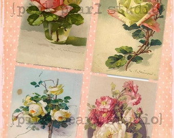 Vintage Shabby Rose Post Cards for BaCKGRouND PaPeRs ViNTaGe DiGiTaL CoLLaGe sHeeT aLTeReD HaNg TaGs BooK JouRNaL SCRaPBooKiNg SuPPLieS