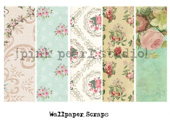 Vintage Wallpaper Scraps Digital Collage Clipart Sheet, Altered Art, Scrapbooking
