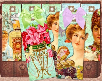Vintage Perfume Ladies Bookmark Digital Collage Clipart Sheet, Altered Art, Scrapbooking