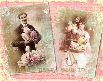 "Victorian Easter Couple Photograph Digital Prints, Set of 2 - 5x7"" for Collage, Scrapbooking, Altered Art and Crafts"