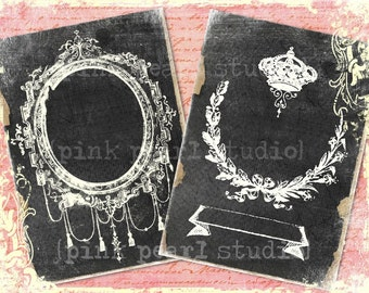 "Vintage Grung Victorian Frames Digital Prints, Set of 2 - 5x7"" for Collage, Scrapbooking, Altered Art and Crafts"