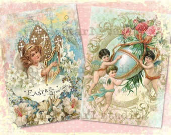 "Victorian Easter Digital Prints, Set of 2 - 5x7"" for Collage, Scrapbooking, Altered Art and Crafts"