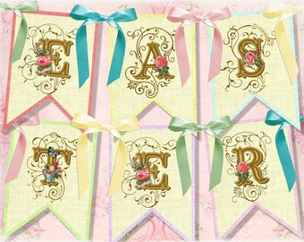Vintage Shabby EASTER Party Banner / Easy DIY Digital File