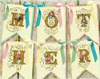 Vintage Shabby MOTHER's DAY Mom Party Banner / Easy DIY Digital File