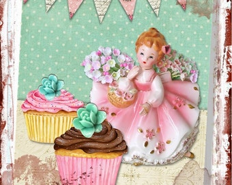 Shabby, Cottage Sweet Cupcake Girl 8x10 Digital Print , Altered Art, Collage, Scrapbooking, Cardmaking