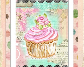 Shabby, Folk Cupcake 8x10 Digital Print , Altered Art, Collage, Scrapbooking, Cardmaking