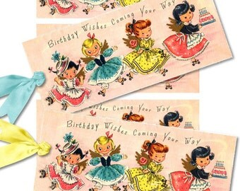Set of 4 Vintage  Birthday Little Girl TaGS aNTiQUe DiGiTaL CoLLaGe sHeeT aLTeReD HaNg BooK JouRNaL SCRaPBooKiNg SuPPLieS