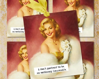 Set of 4  Vintage Pin-up HoUsEWiFe TaGS aNTiQUe DiGiTaL CoLLaGe sHeeT aLTeReD HaNg BooK JouRNaL SCRaPBooKiNg SuPPLieS
