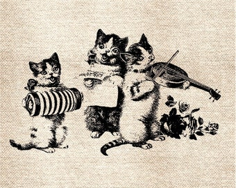 Singing Vintage Cats DiGItal ImaGe TranSFer for BurlAp PilLows ShabBy GrUnGy ScRapBookInG