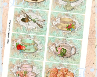 Set of 8 Shabby Tea Time Cake Digital ATC BaCKGRouND PaPeRs ViNTaGe aNTiQUe CoLLaGe sHeeT aLTeReD HaNg TaGs BooK SCRaPBooKiNg