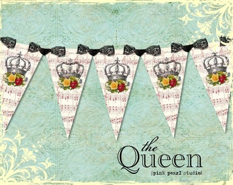 the QUEEN Vintage Rose Shabby Crown Party Banner / Easy DIY Digital File