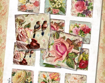 "Cottage Rose 2"" Squares fOr Shabby ViNtAGe JeWelRY AlTerED ArT English Garden Bird"