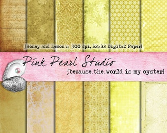Honey and Lemon Digital Paper Pack 12x12 yellow, brown, tan, gold...Scrapbooking, Crafts and Cardmaking