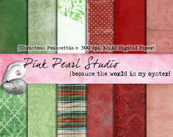 Shabby Christmas Poinsettia Digital Paper Pack 12x12 Red Green Plaid...Scrapbooking, Crafts and Cardmaking
