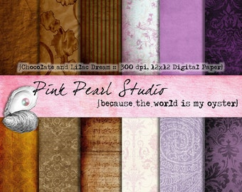 Chocolate and Lilac Dream Digital Paper Pack 12x12 Brown, Lilac, Purple...Scrapbooking, Crafts and Cardmaking