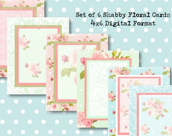 Set of 6, 4x5 Digital Shabby Pink Aqua Floral Backgrounds for JouRnAL TaGS aNTiQUe CoLLaGe aLTeReD HaNg BooK SCRaPBooKiNg SuPPLieS