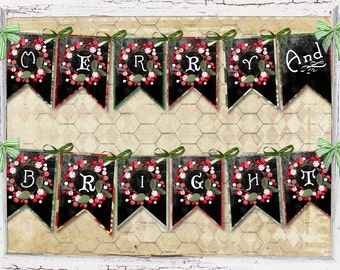 Merry and Bright Chalkboard Vintage, Retro DIY Digital Garland Banner, Easy and Fun to Create