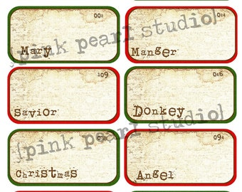 Christmas Mini Grungy Vintage Flashcards, Scrapbooking and Tag, Digital Collage Sheet