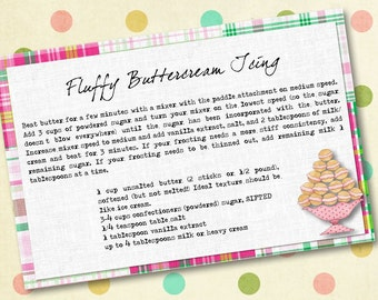 Pink Preppy Madras Digital Recipe Cards