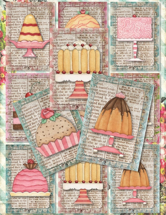 Set Of 9 Sweet ATC DeSSert CaKe BaKEry BaCKGRouND PaPeRs