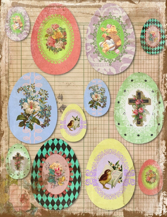Victorian Easter Eggs Digital Collage BaCKGRouND PaPeRs ViNTaGe aNTiQUe DiGiTaL aLTeReD HaNg TaGs BooK JouRNaL