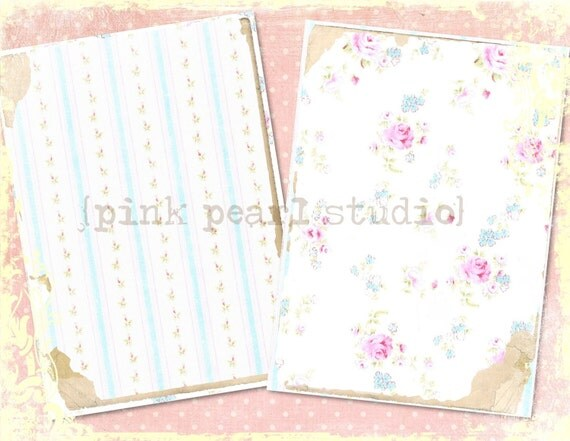 "English Linens Background Digital Prints in 2 - 5x7"" Format Altered Art, ATC, Scrapbooking"