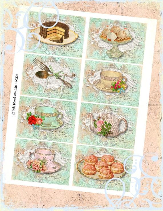 set of 8 shabby tea time cake digital atc background papers. Black Bedroom Furniture Sets. Home Design Ideas