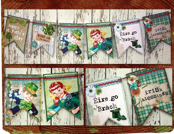 Retro and Shabby St. Patrick's Day Printable Banner / Easy DIY Digital File