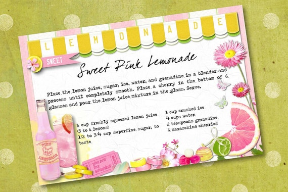 Sweet Pink Lemonade Digital Recipe Cards