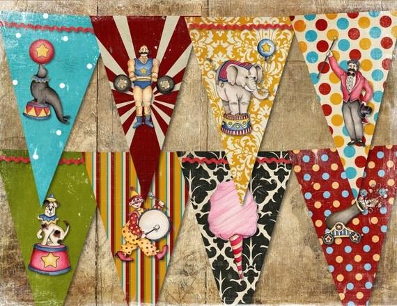 Circus Banner Vintage Retro /  Easy DIY Digital Printable File
