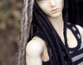 Black and blonde 9-10 (SD) BJD dread wig