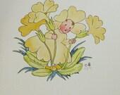 flower children ida bohatta vintage prints - yellow primrose