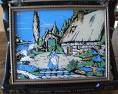 Antique Framed Cottage Garden Scene Reverse Painted Glass Foil