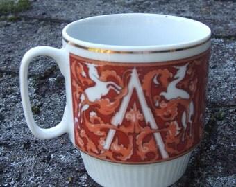 Vintage Unicorn Stacking Mug in rust